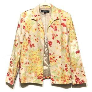 Kasper Bright Linen Floral Blazer Jacket